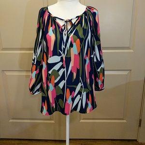 🎈 bright print bell sleeve blouse